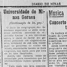 Antônio Carlos apoia congregação das Faculdades superiores de Minas com lei que cria a UMG. Diário de Minas. Sexta-feira, 16 de Setembro de 1927. Miniatura.