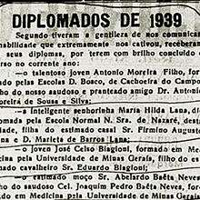 """O Correio da Semana traz a lista dos diplomados de 1939, destacando """"o jovem José Celso Biagioni"""" e """"o entimado moço Sr. Abelardo Baeta Neves"""", formados em Medicina pela Universidade de Minas Gerais. A lista está na edição de 9 de dezembro de 1939 do jornal. Miniatura."""