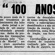 """""""100 anos de déficit e demagogia"""", critica o professor catedrático da Escola de Engenharia Roberto Carneiro, em razão da política de transportes do país. A entrevista original é do """"Jornal da Semana"""", de Belo Horizonte, mas """"O Repórter"""" a transcreveu na edição de 9 de dezembro de 1961. Miniatura."""