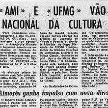 """Em 1º de novembro de 1969, a Folha de Nanuque destaca a participação da UFMG na Semana Nacional de Cultura: """"As finalidades da Extensão Universitária coincidem, em grande parte, com as da imprensa, entre as quais sobressaem as de prestigiar, desenvolver e preservar os valores culturais junto ao grande público"""".  Miniatura"""