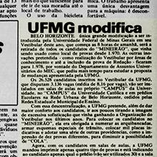 """""""Única grande modificação a ser introduzida pela Universidade Federal de Minas Gerais em seu Vestibular deste ano, que começa às 8 horas de amanhã, será a retirada de todos os candidatos do Mineirão, que vinha sendo usado como local de provas desde 1970"""""""