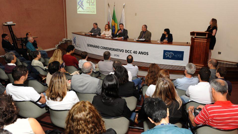"""""""Solenidade foi realizada em auditório do ICEx"""". Comemoração 40 anos do Departamento de Ciência da Computação (DCC). Foto: Foca Lisboa/ Cedecom UFMG"""