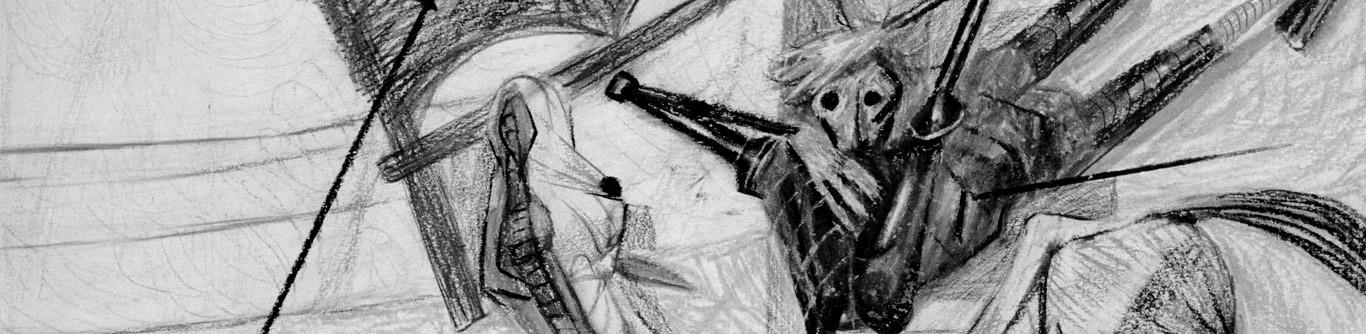 """Dom Quixote arremetendo contra o Moinho de Vento. Ilustração para o livro """"Dom Quixote"""", de Cervantes; edição não realizada, 1956."""