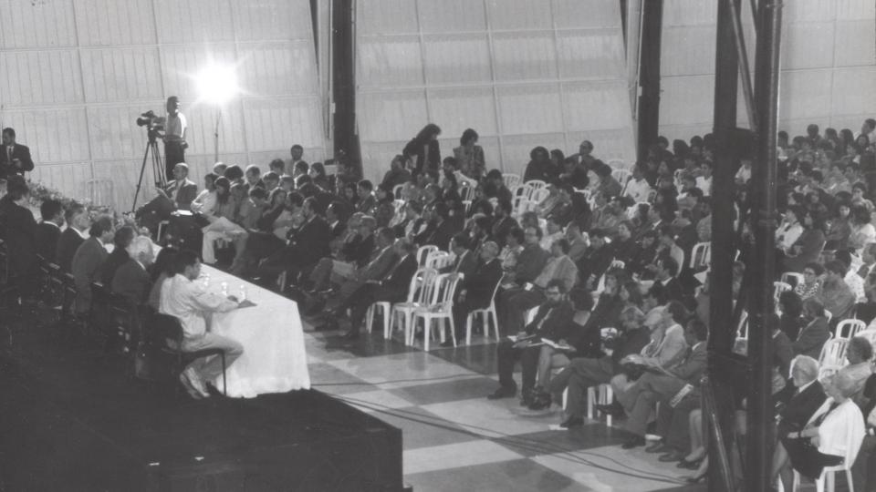 Abertura da 49ª Reunião da SBPC, em 13 de julho de 1997, na Serraria Souza Pinto. Em 2017, é a quinta vez em que a UFMG sedia a SBPC. Foto: Marcos Alvarenga. Acervo  Cedecom/UFMG
