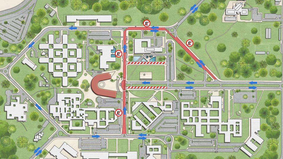 Montagem de infraestrutura para o evento provoca mudança na circulação de veículos no campus Pampulha