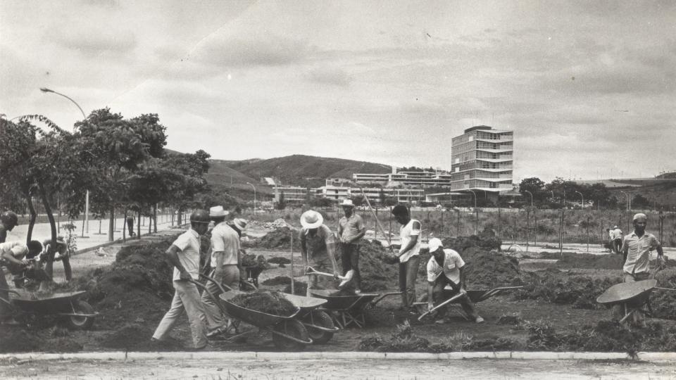 Obras do prédio da Reitoria, na década de 1960: blog vai aliar informações históricas a ações do presente. Foto: Acervo UFMG