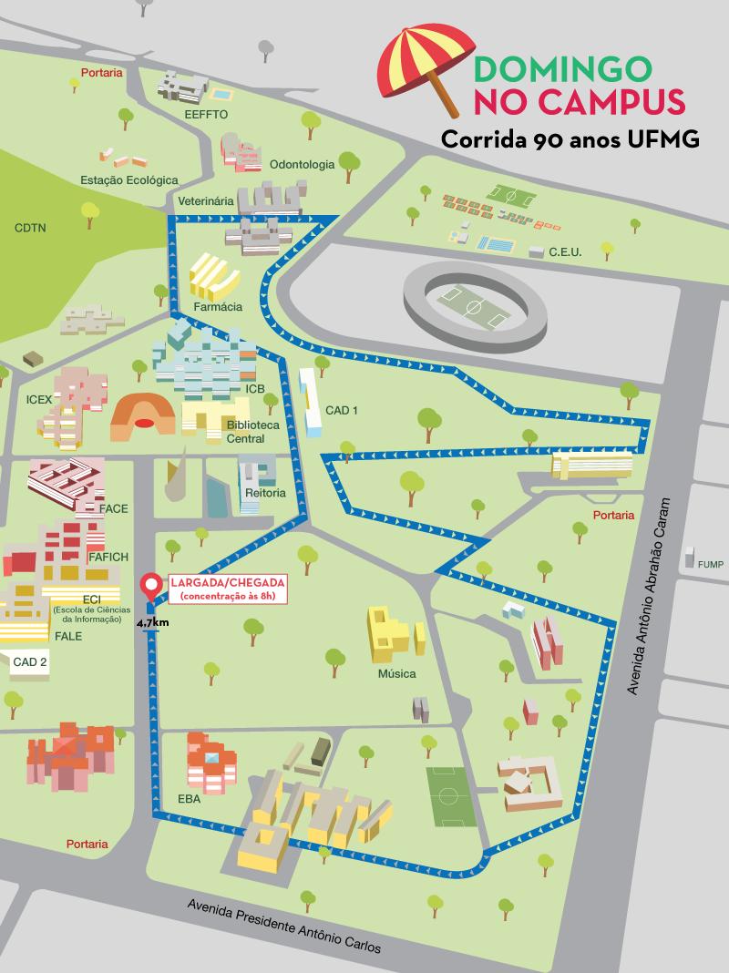 'Domingo no campus' terá corrida para celebrar 90 anos da UFMG. Divulgação