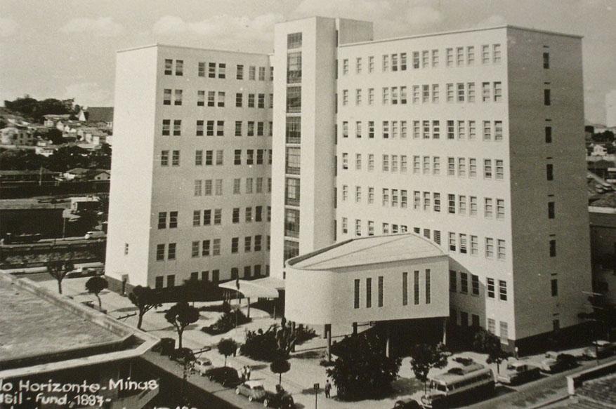 O Edifício Arthur Guimarães, finalizado. Acervo: Associação de ex-alunos da Escola de Engenharia