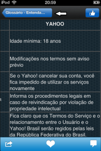 Quadro Comparativo - Características Yahoo