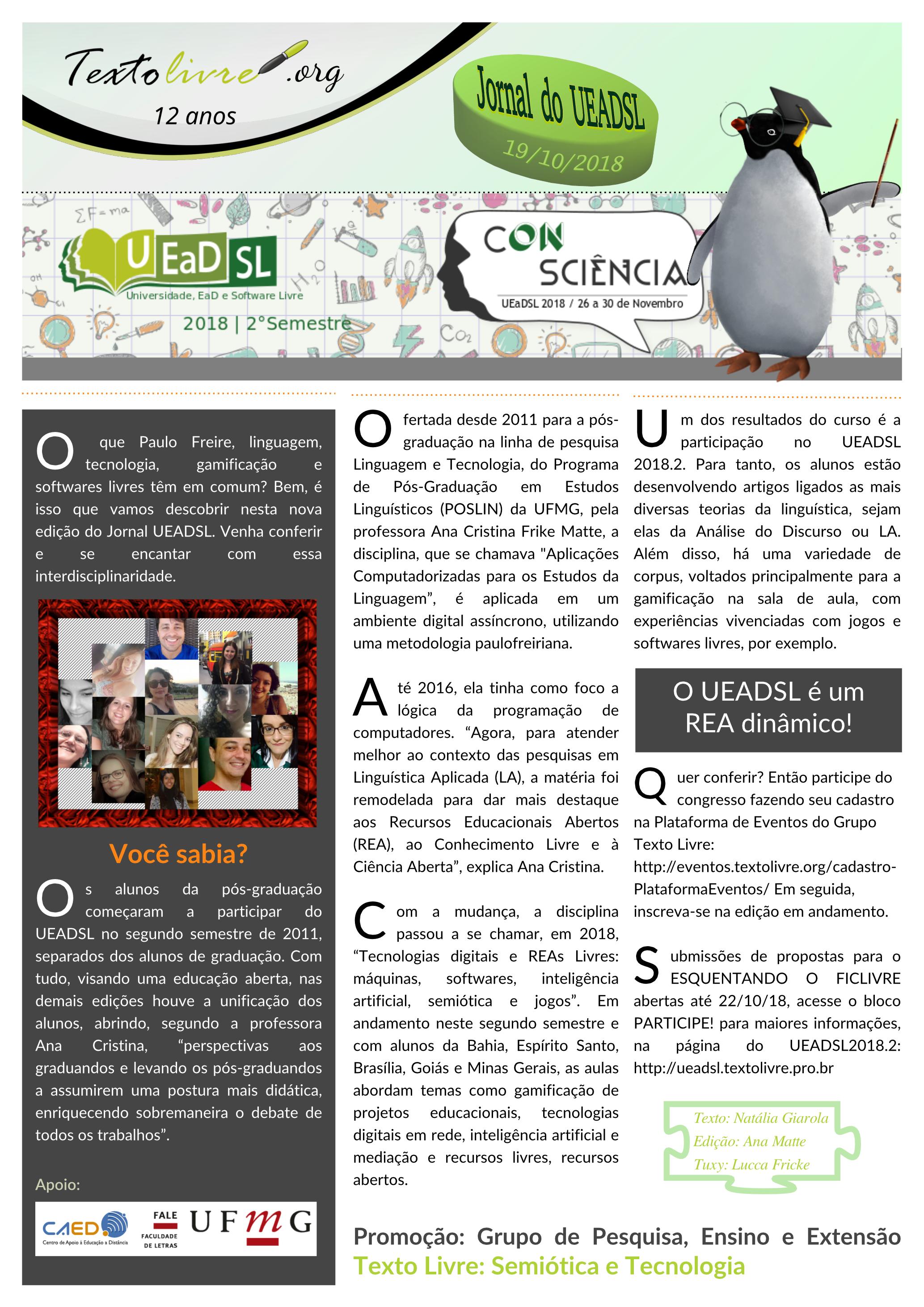 Jornal do UEADSL - disponível na página do CAED/UFMG https://www.ufmg.br/ead/index.php/4835-2/