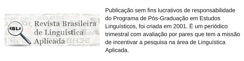 revista brasileira de linguistica aplicada